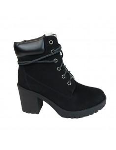 Boots femme noires à lacets type rangers simili daim à talons entièrement fourrées