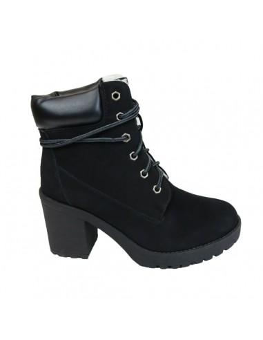 Boots femme noires type rangers à talons entièrement fourrées