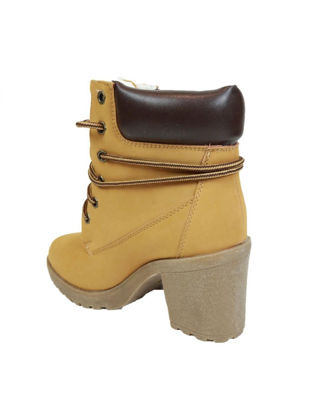 boots femme camel type rangers talons enti rement fourr es. Black Bedroom Furniture Sets. Home Design Ideas