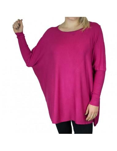 Pull femme ample rose fuschia aspect laine douce