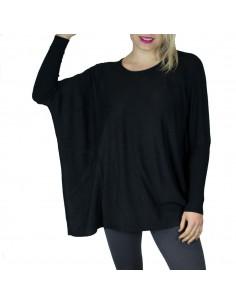 Pull femme ample noir aspect laine douce