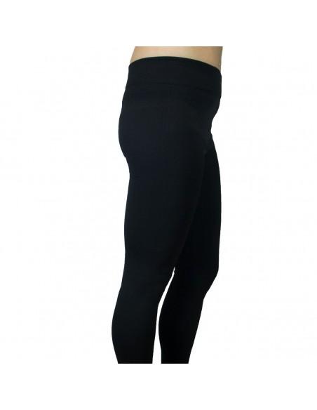 Legging long noir chaud et confort épais effet mousse