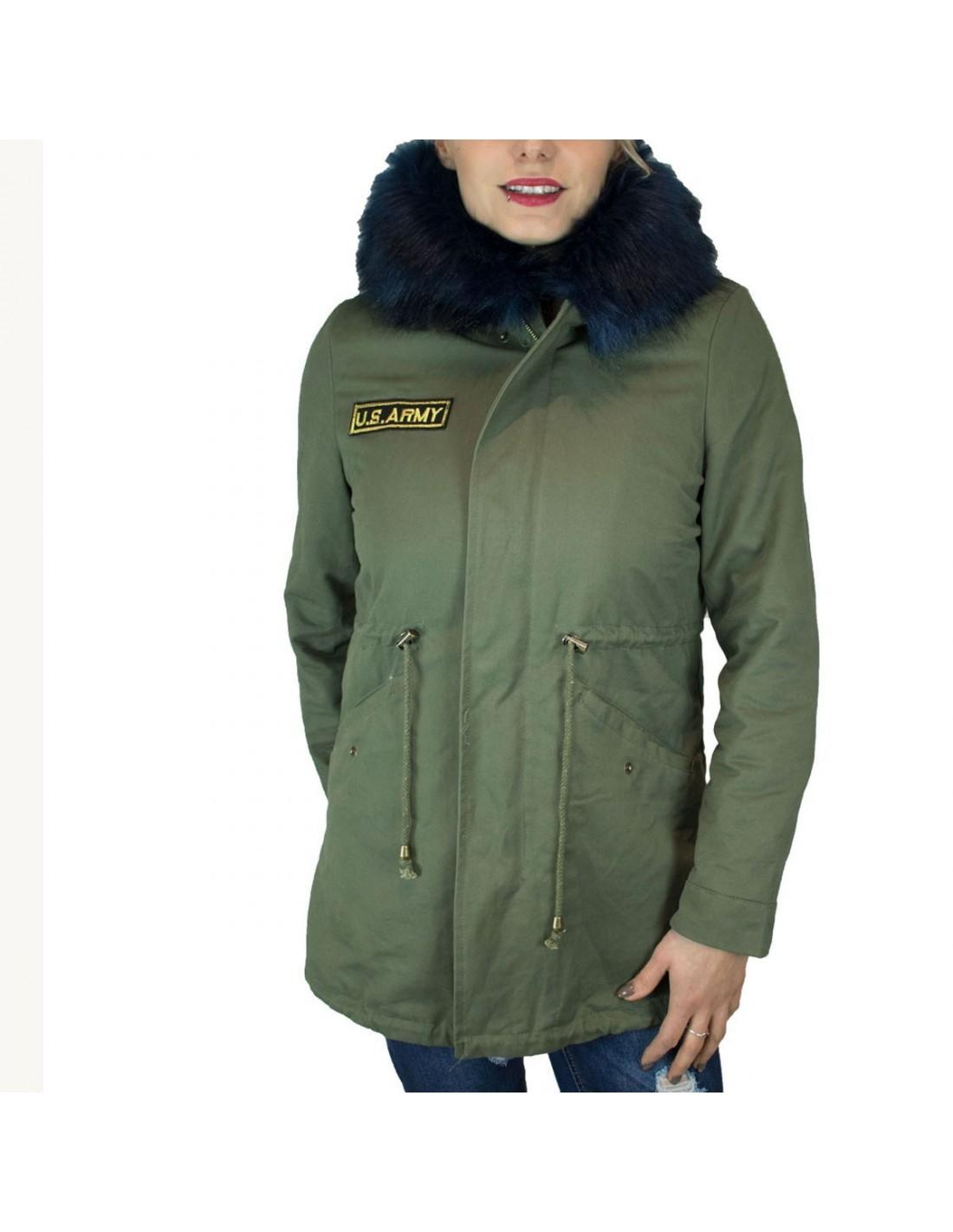 c0ad698a24 ... Manteau femme mi-long kaki intérieur fourré avec capuche fourrure  synthétique bleu marine ...