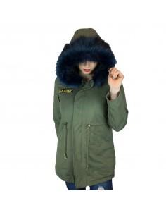 Manteau femme mi-long kaki intérieur fourré avec capuche fourrure synthétique bleu marine