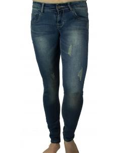 Jean femme stretch souple bleu foncé effet dégradé poussière coupe slim