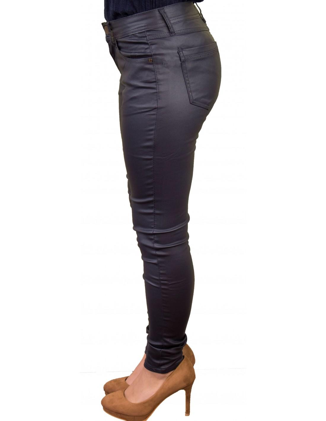 Bleu Jean Slim Enduit Stretch Souple Femme Marine X8n0PwOk