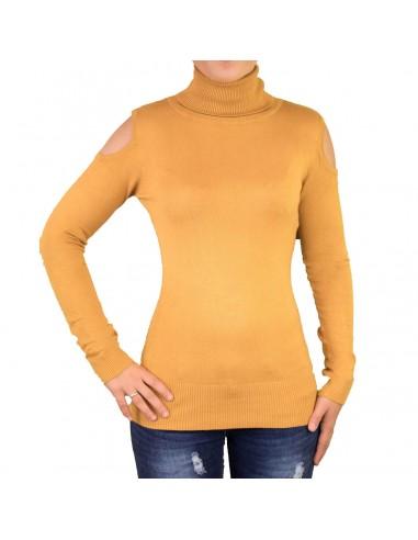 Pull femme col roulé épaules découpées aspect laine douce
