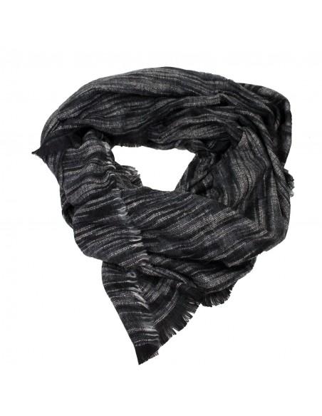 Echarpe femme longue type châle noir gris