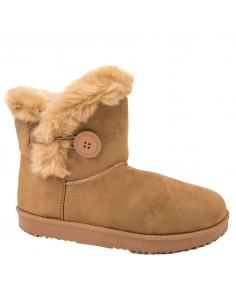 Bottes Femme type boots basses en suédine fourrées camel