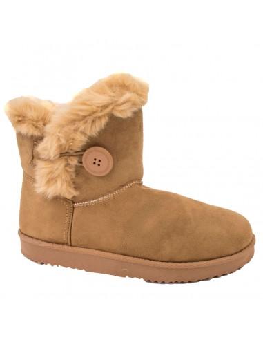 Bottes Femme type boots basses en suédine fourrées camel fantaisie bouton
