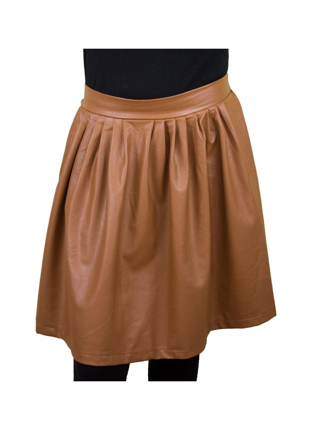 jupe patineuse aspect cuir taille lastique. Black Bedroom Furniture Sets. Home Design Ideas