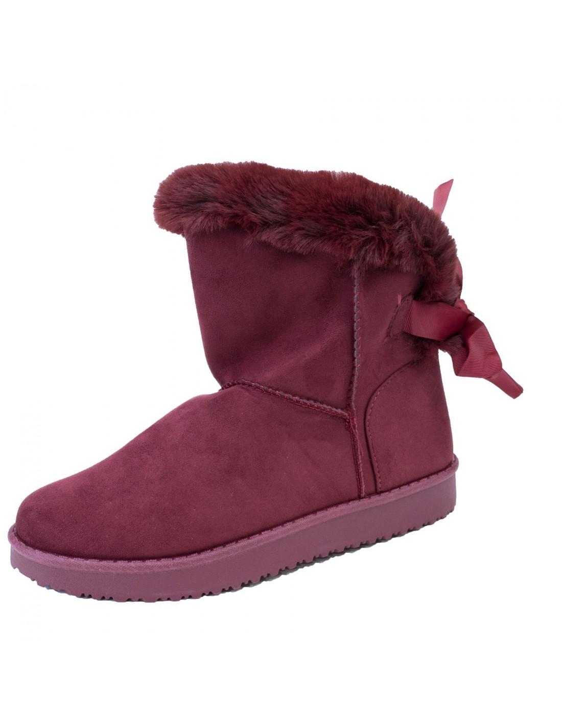 boots femme fourr es bordeaux fantaisie ruban fourrure. Black Bedroom Furniture Sets. Home Design Ideas