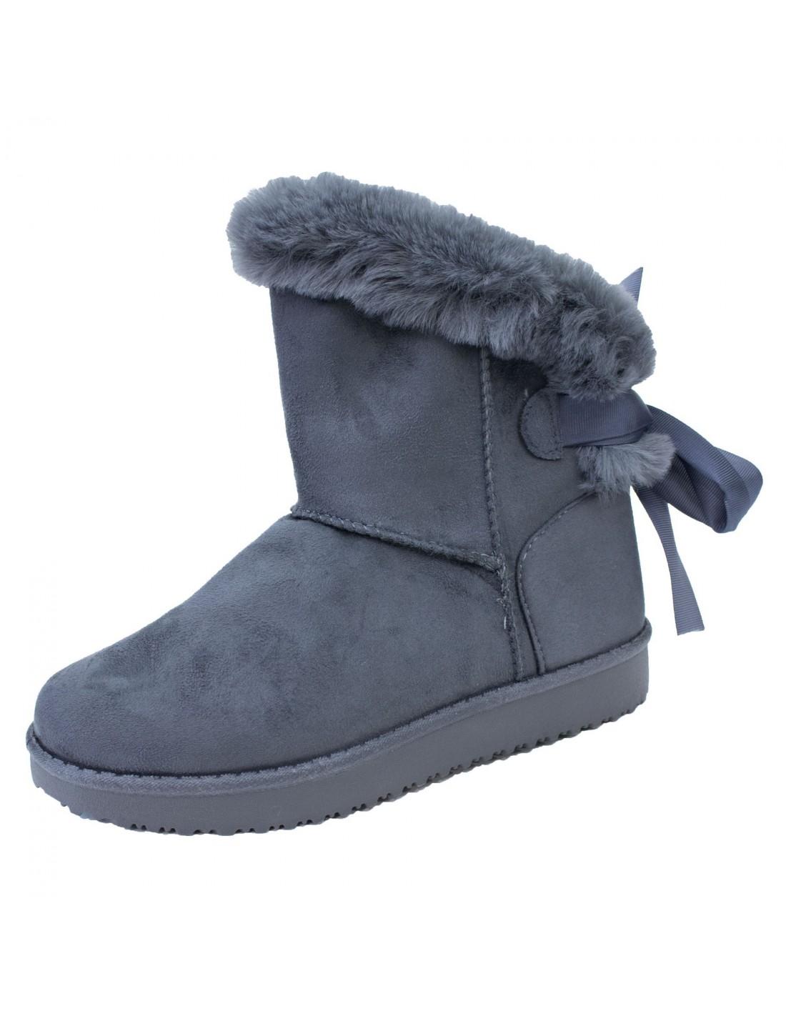 boots femme fourr es grises fantaisie ruban fourrure synth tique. Black Bedroom Furniture Sets. Home Design Ideas