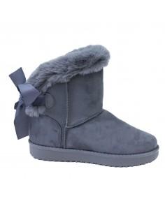 Boots femme fourrées grises fantaisie ruban & fourrure