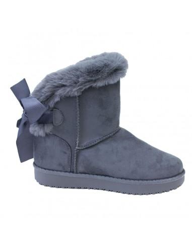 da4d1e9432e Boots femme fourrées grises fantaisie ruban   fourrure synthétique