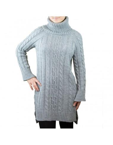 b4fe8e782e8e Robe pull col roulé unie motif tricot aspect laine douce