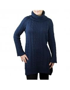 Robe pull col roulé unie motif tricot aspect laine douce