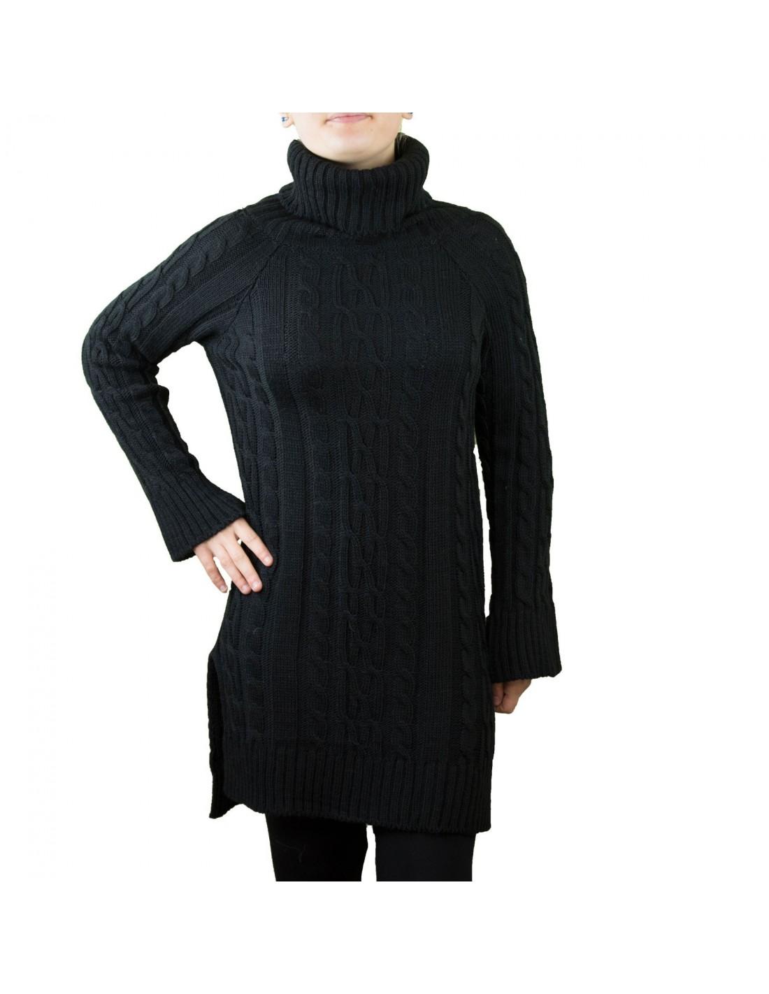 Robe laine noire col roule