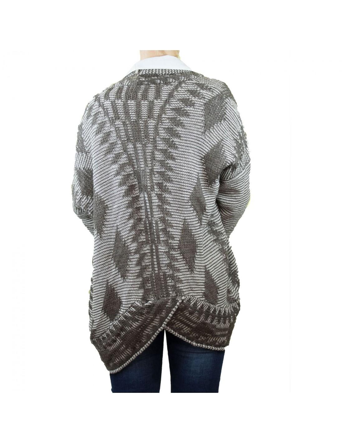 prix le plus bas 540c4 a5559 Gilet femme mi long ouvert aspect laine tricot & col revers ...