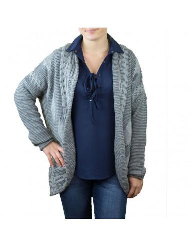 Gilet femme mi long ouvert aspect laine tricot & col revers