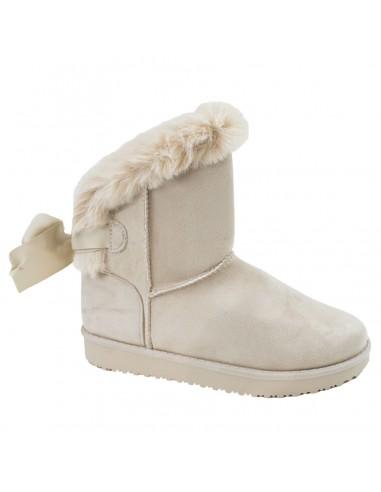 Boots femme fourrées nude beiges fantaisie ruban & fourrure semelles rigides