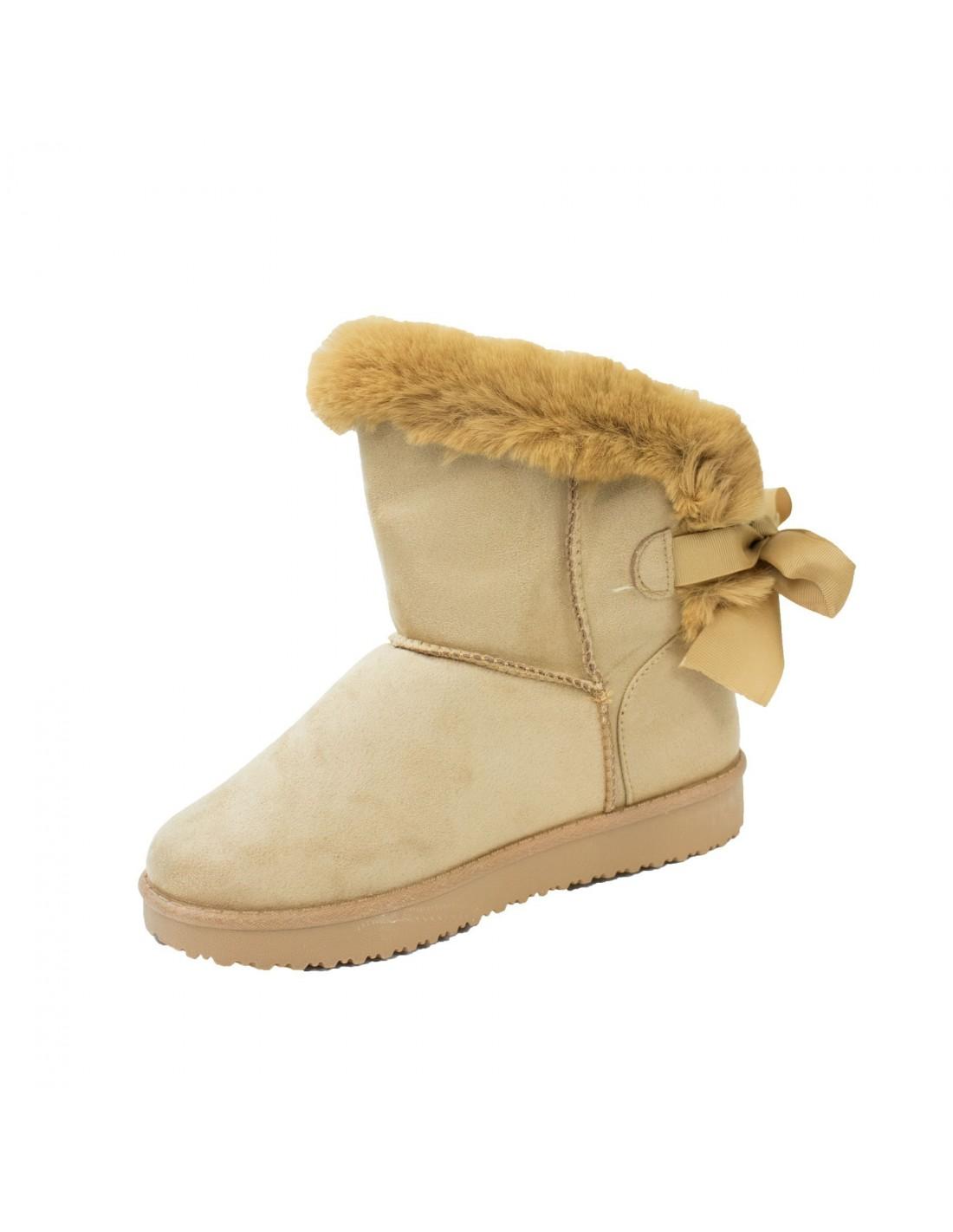 boots femme fourr es camel fantaisie ruban fourrure. Black Bedroom Furniture Sets. Home Design Ideas