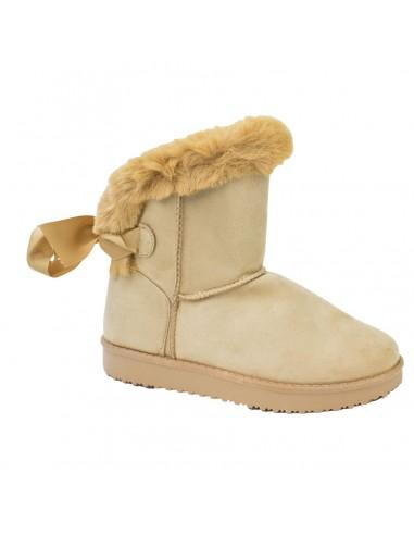 Boots femme fourrées camel fantaisie ruban & fourrure