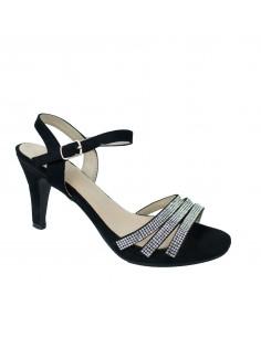 Sandales de soirée pour femme en simili daim noir et lanières strass
