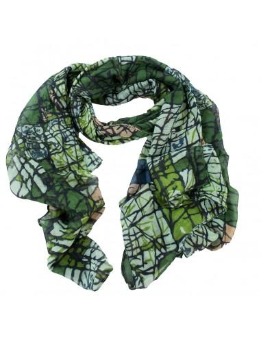 Foulard femme tons verts motif lignes abstraites