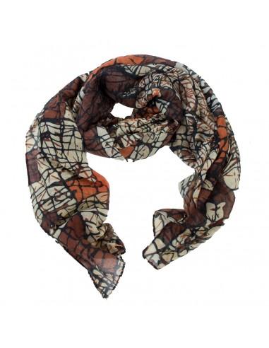 Foulard femme marron motif lignes abstraites