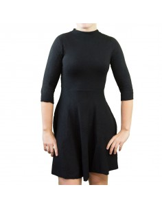 Robe patineuse courte aspect laine pull manches 3/4 col montant