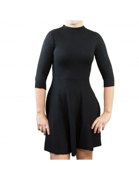 Robe courte aspect laine pull manches 3/4 col montant