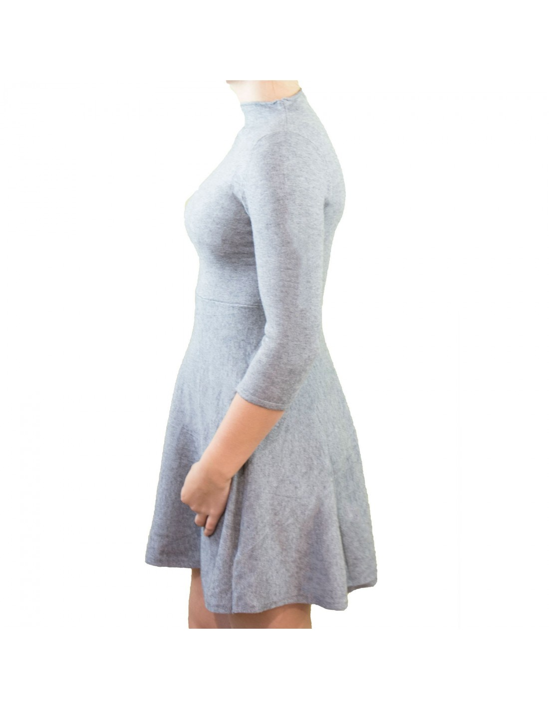 39cb47fcf79 Robe courte aspect laine pull manches 3 4 col montant