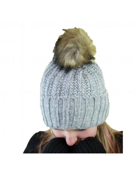 Bonnet femme aspect laine chinée tricotée & pompon fourrure synthétique
