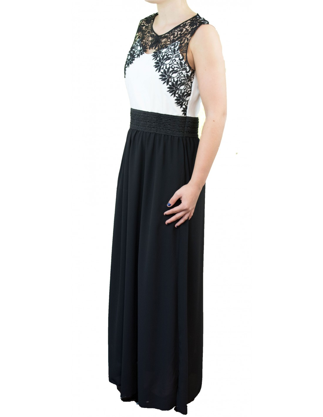 robe de soir e longue noire et blanche sans manche motif dentelle. Black Bedroom Furniture Sets. Home Design Ideas