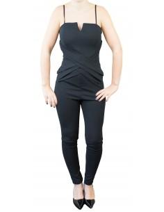 Combinaison femme noire moulante type bustier & fines bretelles ajustables