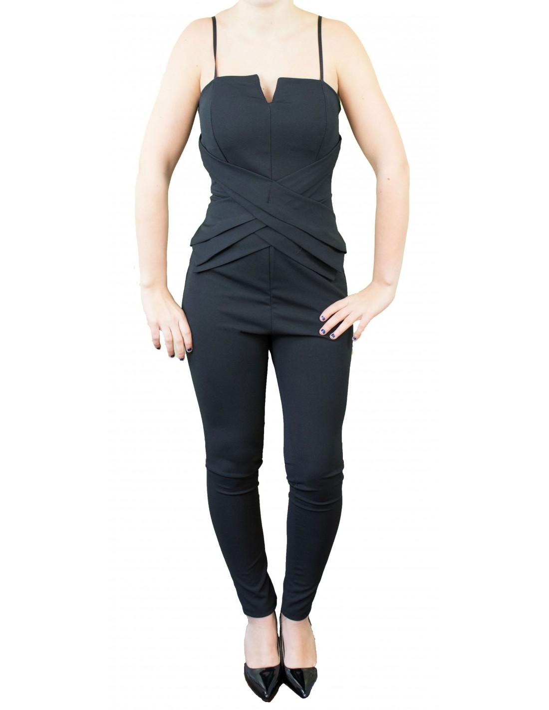 Combinaison femme noire moulante type bustier   fines bretelles ajustables b922b28976f6