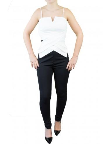 Combinaison femme noire et blanche moulante type bustier & fines bretelles ajustables