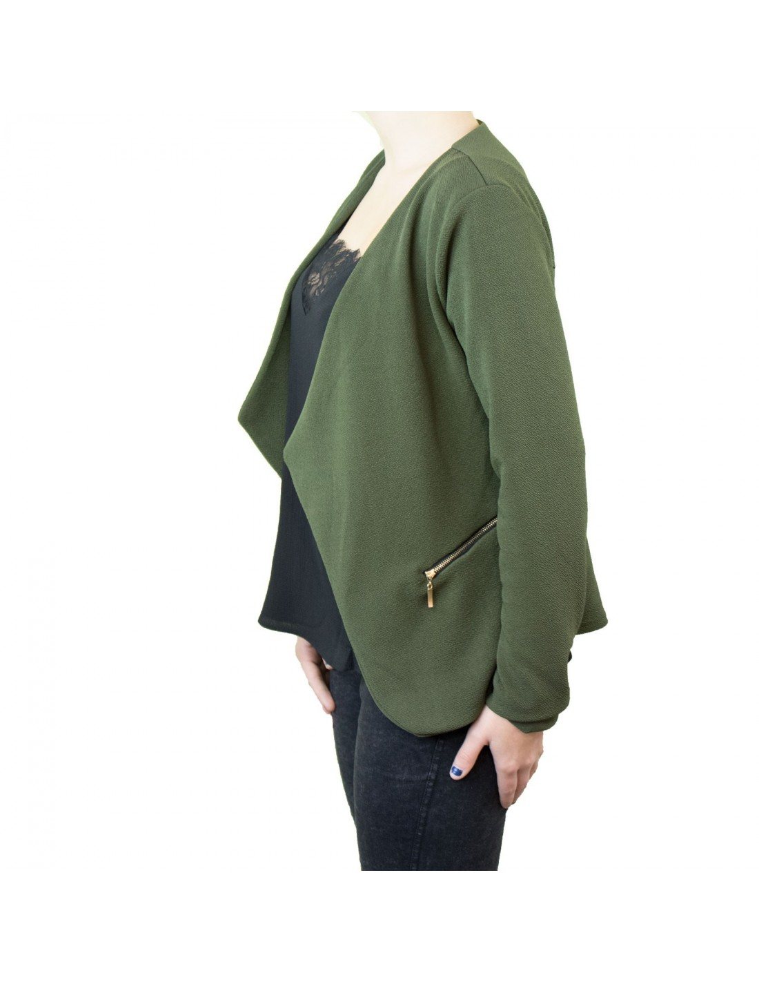 veste blazer femme kaki effet gilet l ger poches zip dor. Black Bedroom Furniture Sets. Home Design Ideas