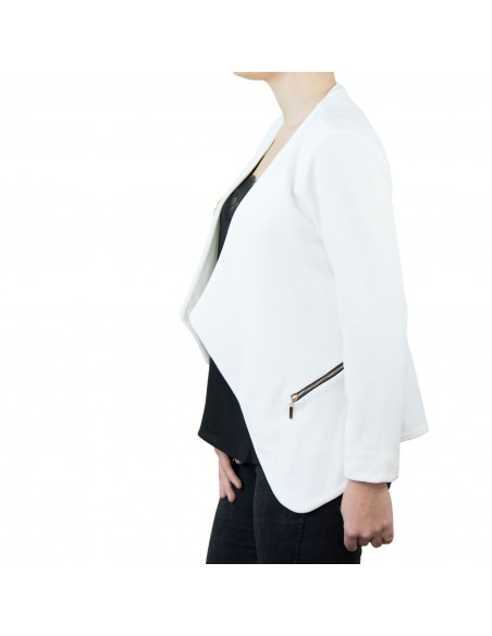 Veste blazer femme blanche effet gilet léger poches zip doré