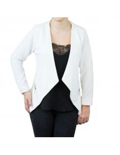 Veste blazer blanc femme type veste blanche effet gilet léger poches zip doré