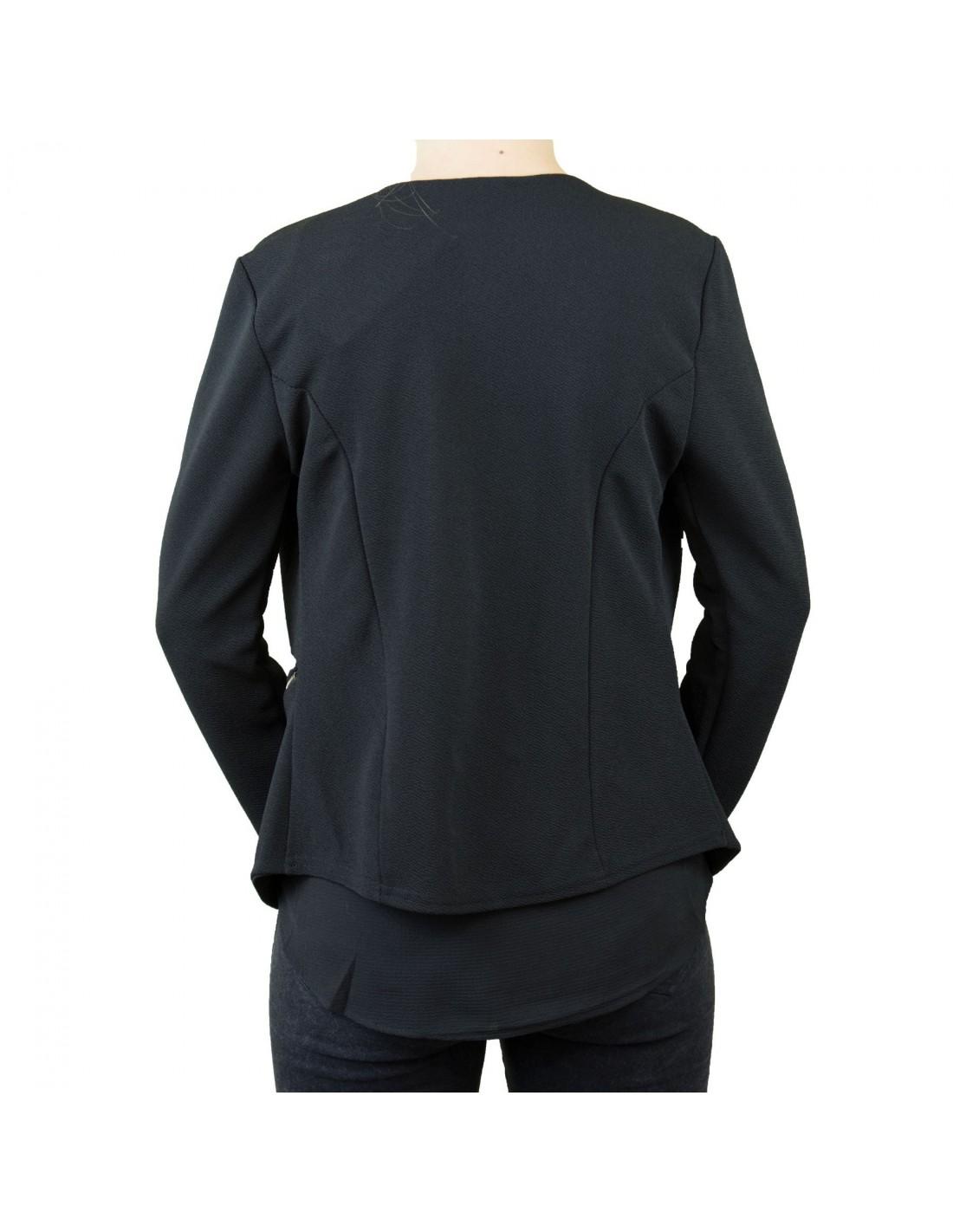 veste blazer femme noire effet gilet l ger poches zip dor. Black Bedroom Furniture Sets. Home Design Ideas
