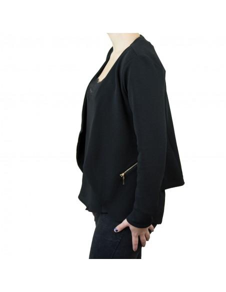 Veste blazer femme noire effet gilet léger poches zip doré