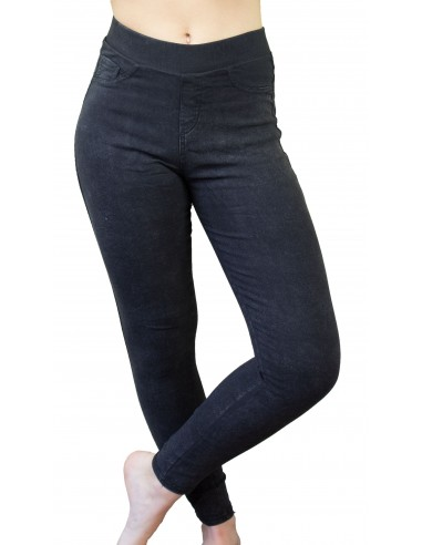 Jegging femme noir ultra stretch taille élastique effet jean noir dégradé gris