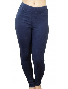 Jegging femme bleu jean ultra stretch taille élastique effet dégradé