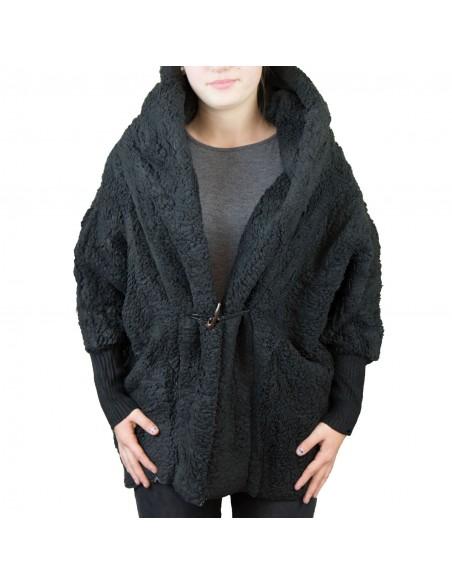 Veste manteau femme doudou noire avec capuche chaude et douce