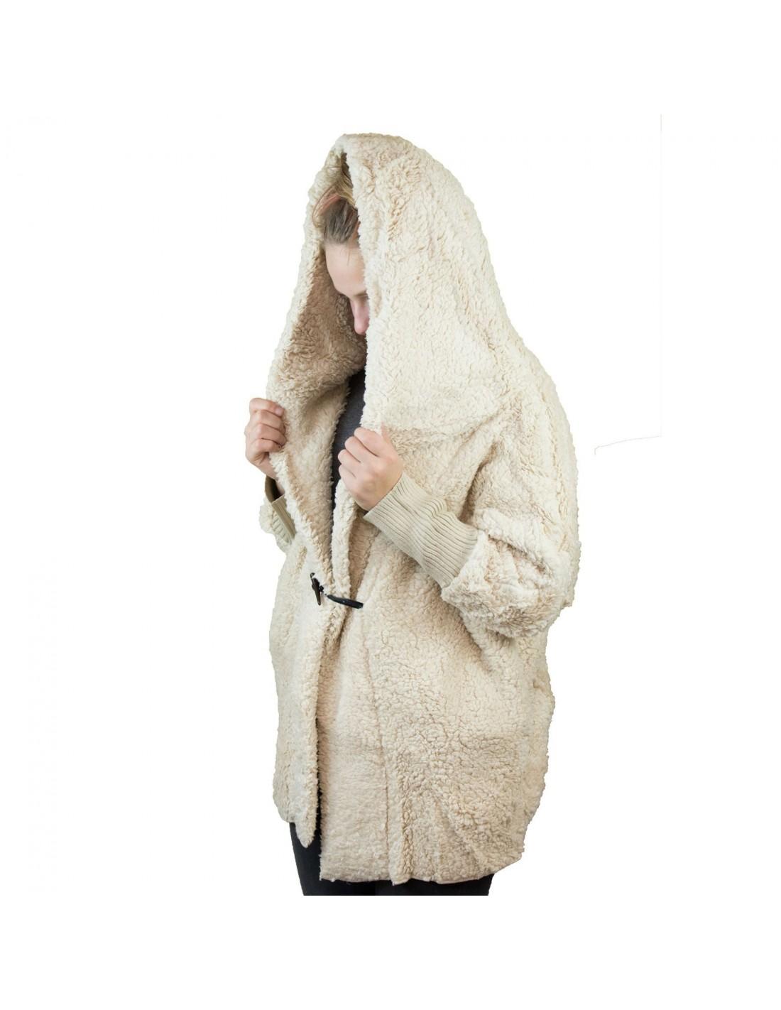 veste manteau femme doudou beige avec capuche chaude et douce. Black Bedroom Furniture Sets. Home Design Ideas