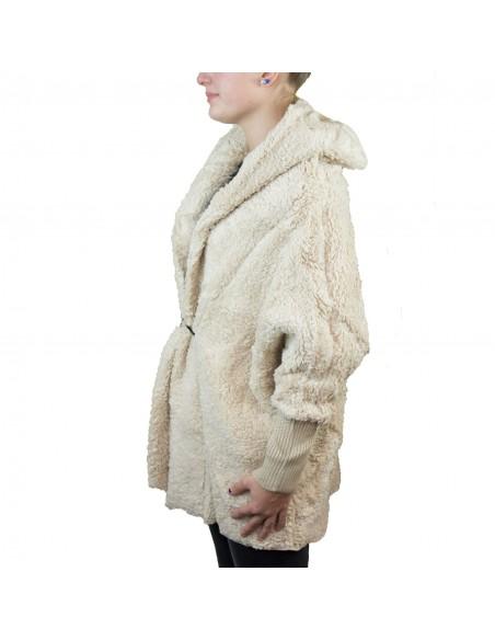 Veste manteau femme doudou beige avec capuche chaude et douce