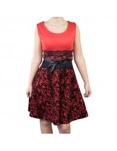 Robe de soirée chic baroque rouge et noir en velours et dentelle