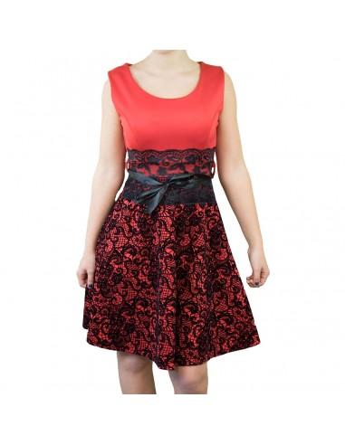 Robe bicolore rouge et noire imprimés baroques en velours & dentelle ruban
